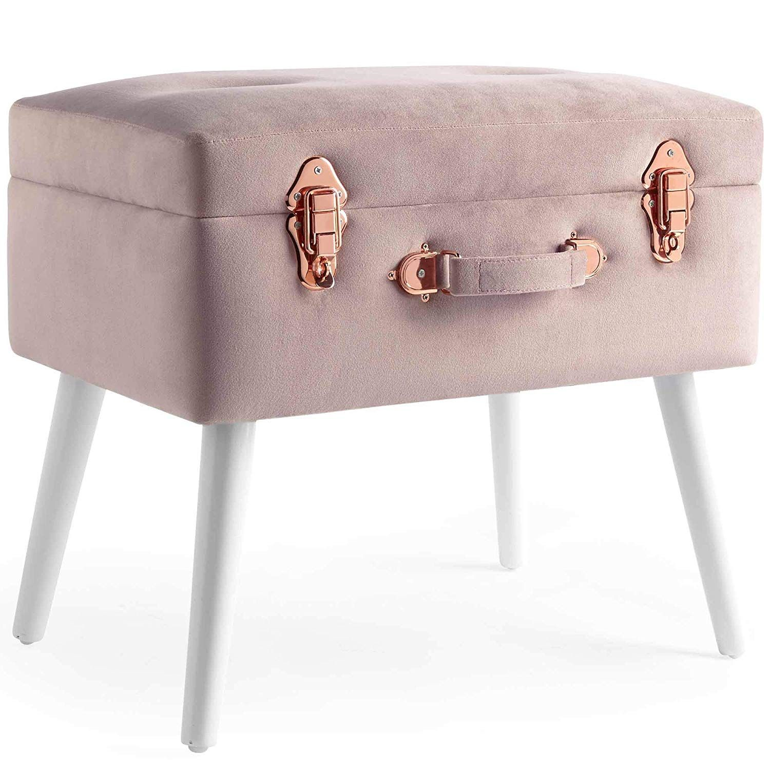 Surprising Amazon Com Beautify Pink Velvet Storage Trunk Footrest Pdpeps Interior Chair Design Pdpepsorg