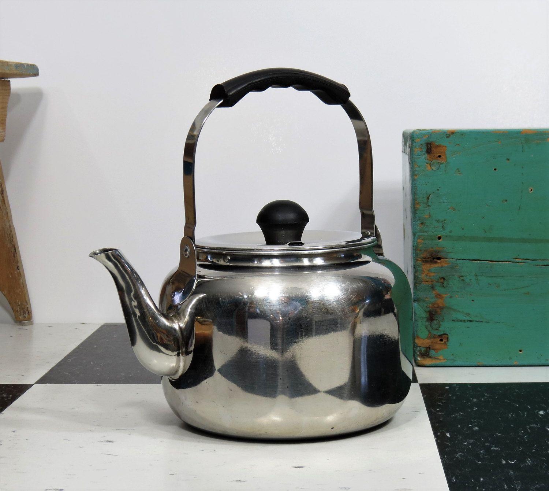 vintage farberware mid century stainless steel 2 quart tea kettle