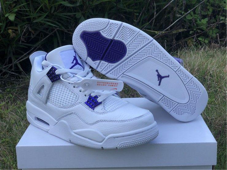 "intercambiar artillería tema  2020 Mens Air Jordan 4 ""Purple Metallic"" Purple and White | Air jordans, Jordan  4, Nike air shoes"