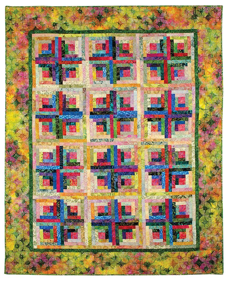 This Gorgeous Log Cabin Quilt Was Created With Batik Fabrics In The  Traditional Sunshine And Shadows