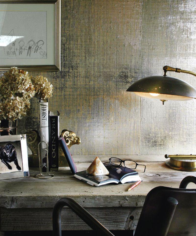 Metallic grasscloth wallpaper and a rustic wood