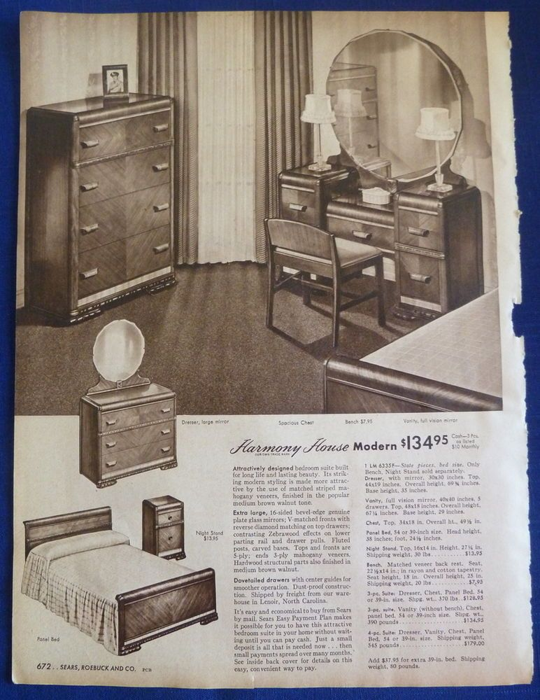 Dining Room Bedroom Suite Furniture Home Decor Vintage 1940s Sears ORIGINAL ADS