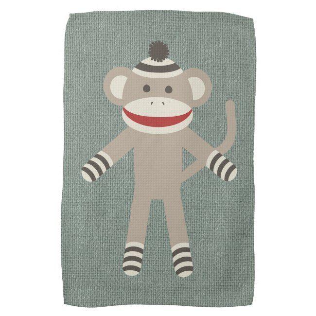 Retro Sock Monkey Towel | Zazzle.com