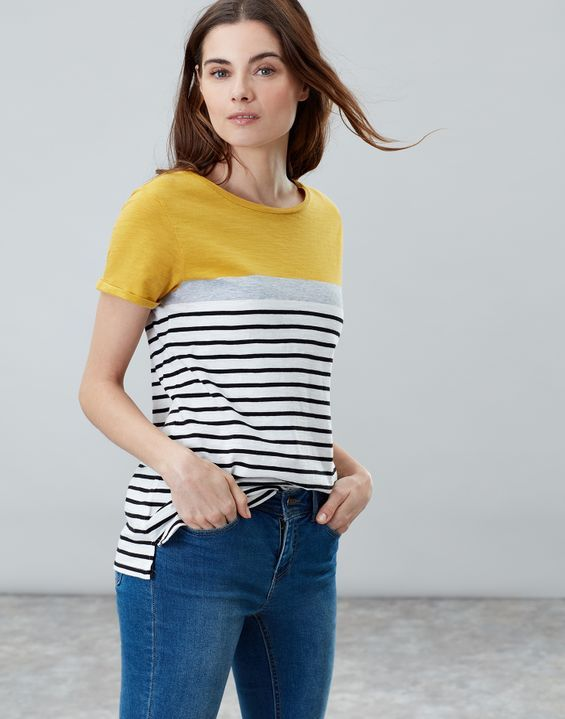Joules Womens Nessa Lightweight Jersey T Shirt in GOLD CREAM BLUE STRIPE