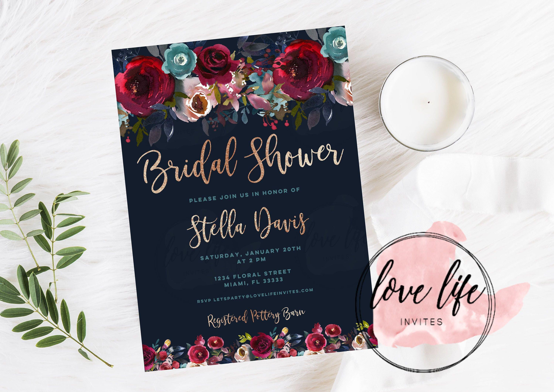 Spring Floral Bridal Shower Invitation Floral