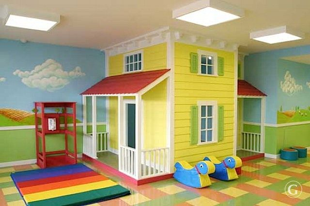 Building a playhouse into the playroom allows kids to keep exploring during the winter months. Fun in the basement