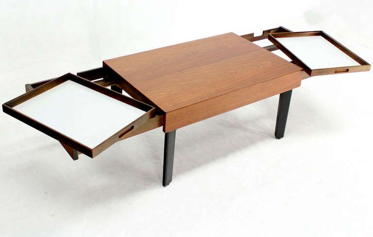 George Nelson Mid Century Modern Walnut Coffee Side Table With Pull Out  Trays | From A