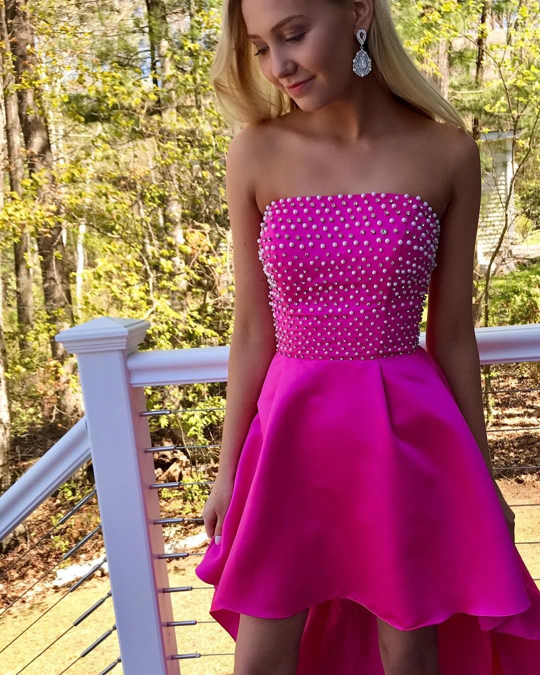 Strapless High Low Prom Dress, Pearls Beaded Long | ღ Prom Dress ...
