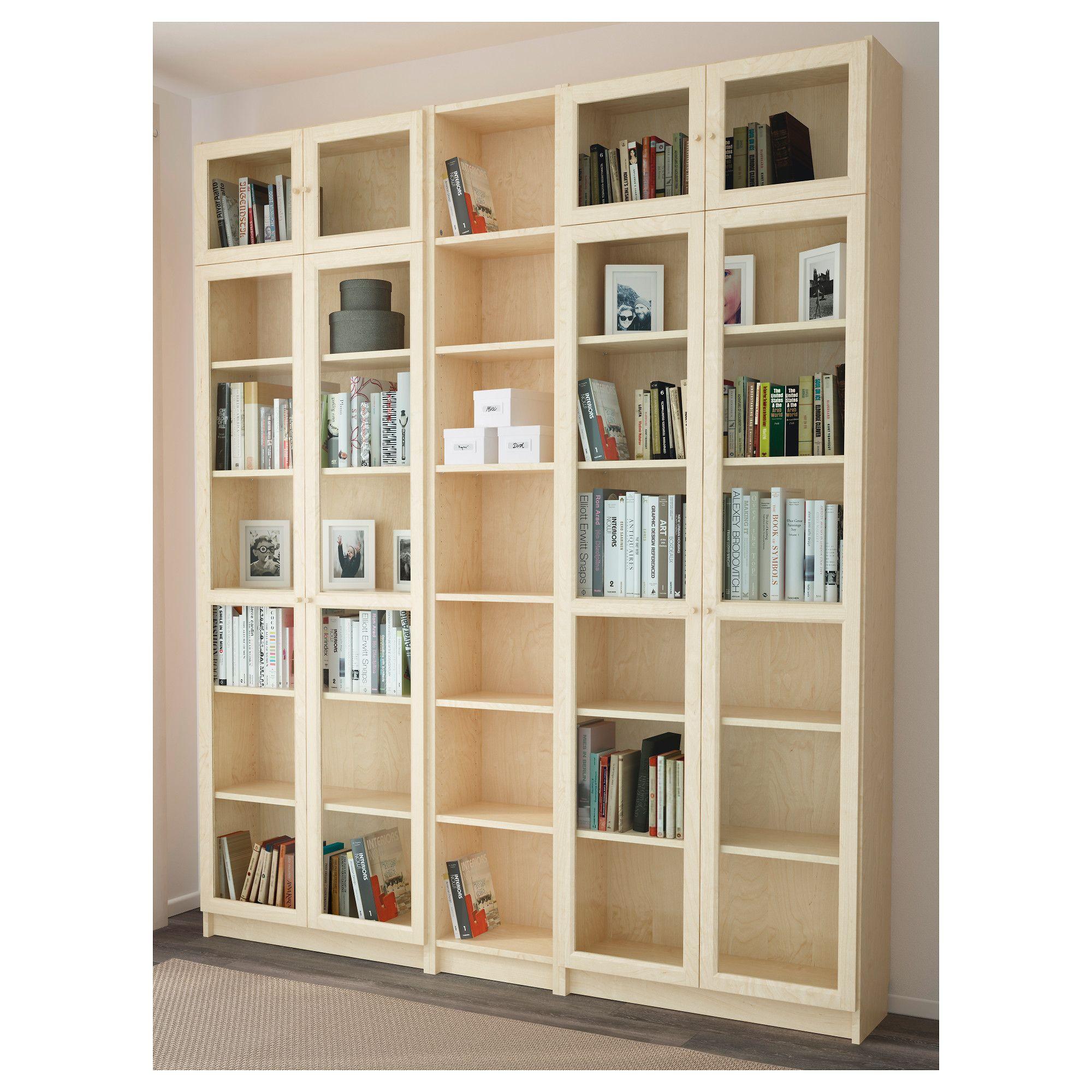 bookcase billy oxberg birch veneer book shelves ikea bookcase rh pinterest com