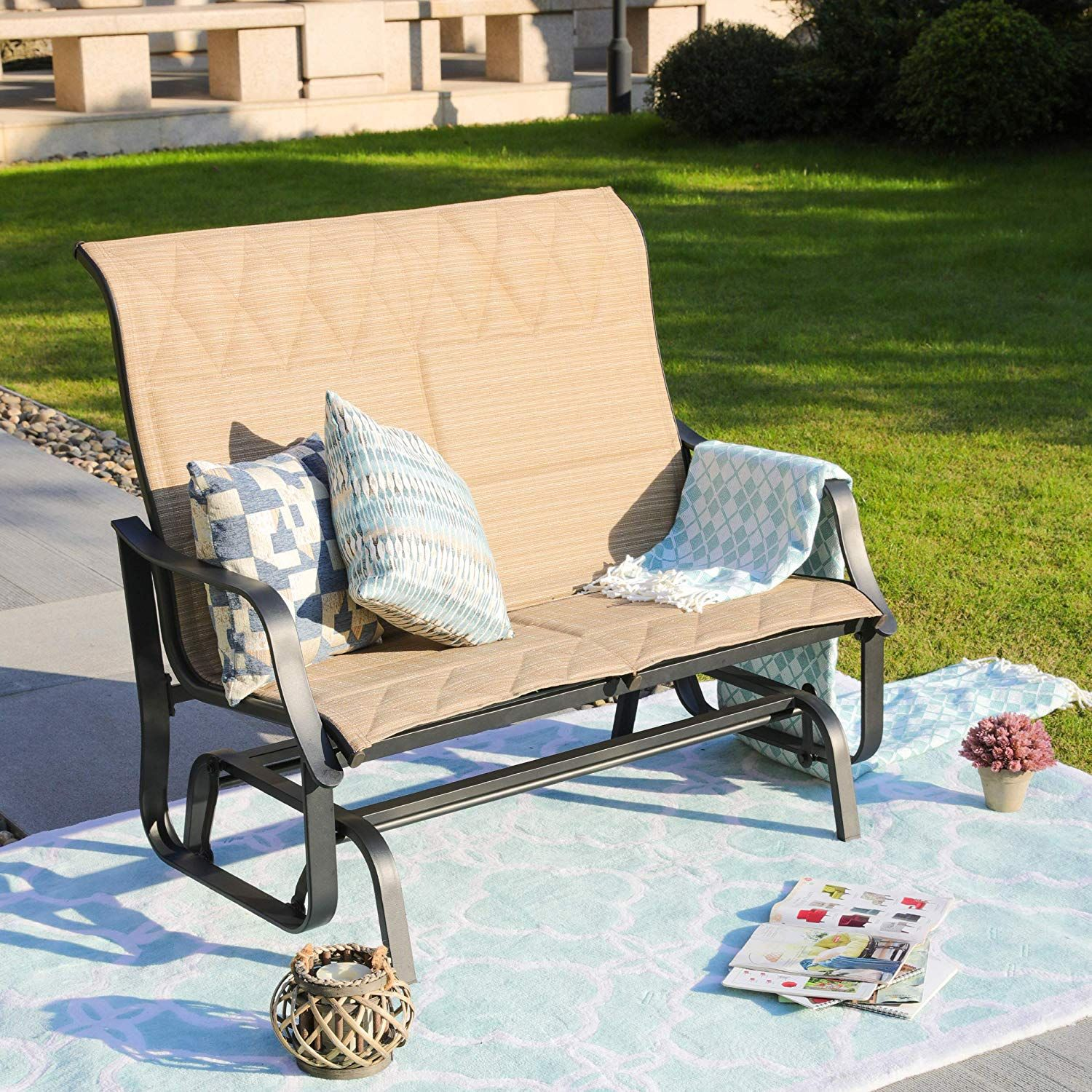 Home Patio Outdoor Glider Seat Bench 2 Person Swing Loveseat Furniture Rocker Lounge Chair Beige Buy Outdoor Furniture Love Seat Outdoor Deck Furniture