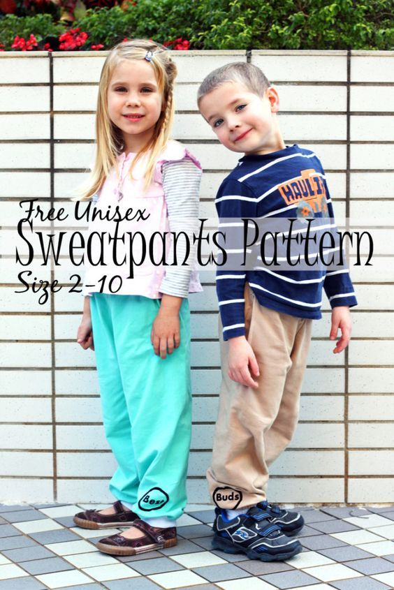 free unsiex sweatpants pattern sizes 2-10 found on Nap-Time Creations: