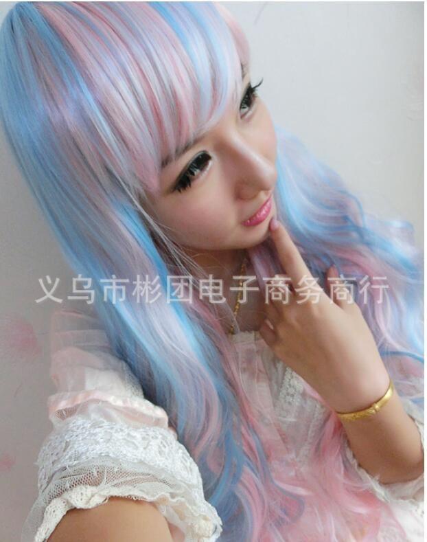 $17.50 (Buy here: https://alitems.com/g/1e8d114494ebda23ff8b16525dc3e8/?i=5&ulp=https%3A%2F%2Fwww.aliexpress.com%2Fitem%2FFast-Shipping-new-2016-harajuku-long-curly-wig-female-hair-cos-anime-wigs-Japanese-harajuku-wig%2F32599190482.html ) Fast Shipping  new 2016 harajuku long curly wig female hair cos anime wigs Japanese harajuku wig pink blue mix for just $17.50