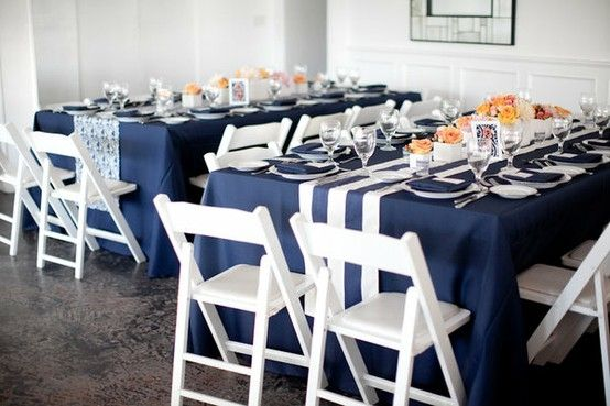 Navy Cloths With Table Runners