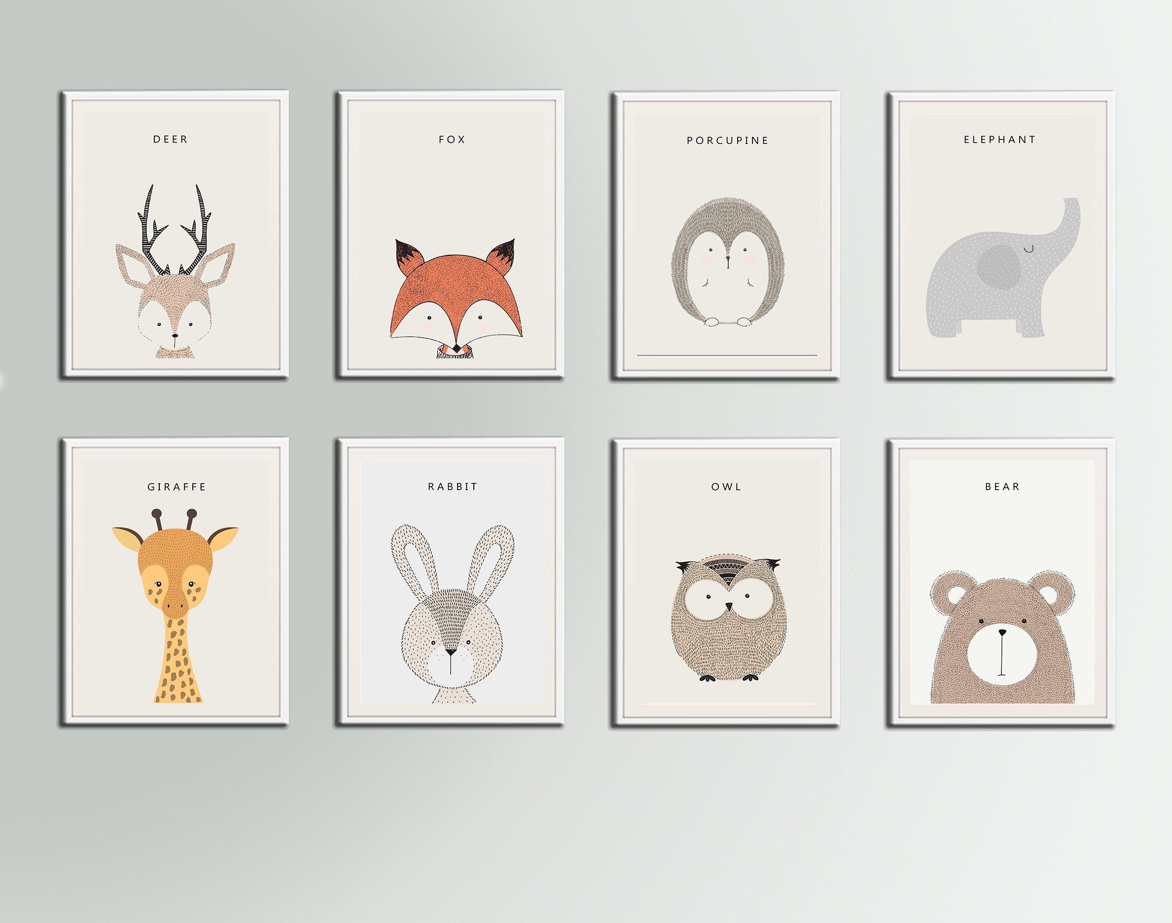 Jungle Animals Nursery Art Print Deer Fox Porcupine Elephant Giraffe