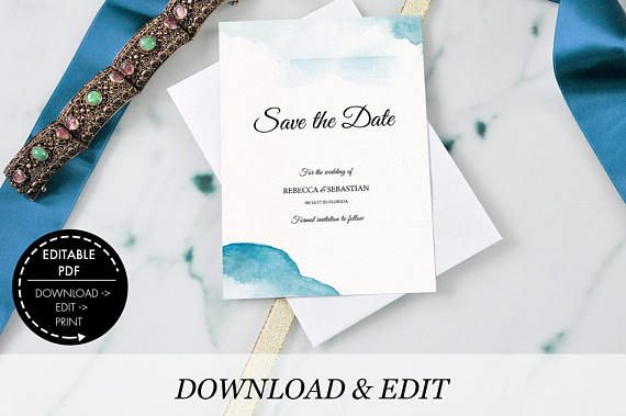 Beach Wedding Save The Date Invitation Template Ocean Wedding