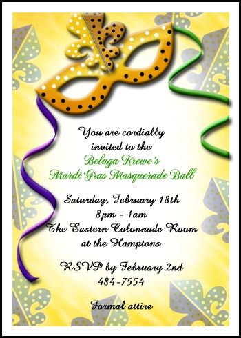 Golden Mask Mardi Gras Party Invites With Lots Of Invitation Wording
