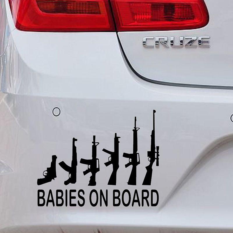 Wholesale Pcslot Cm X Cm Babies On Board My Gun Family - Vinyl decals for cars wholesale