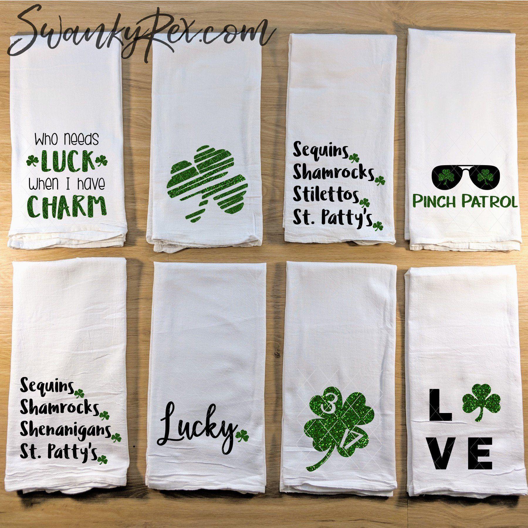 St Patrick S Day Glitter Kitchen Towels Tea Towel Flour Sack
