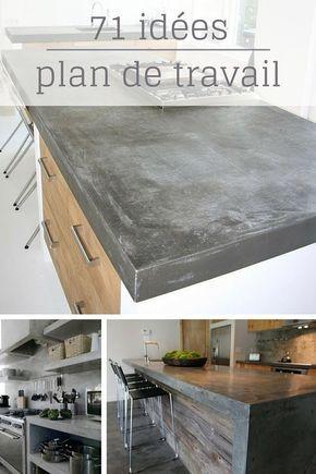 Plan De Travail Cuisine En 71 Photos Idees Inspirations Conseils Plan De Travail Cuisine Cuisine Beton Cuisines Deco