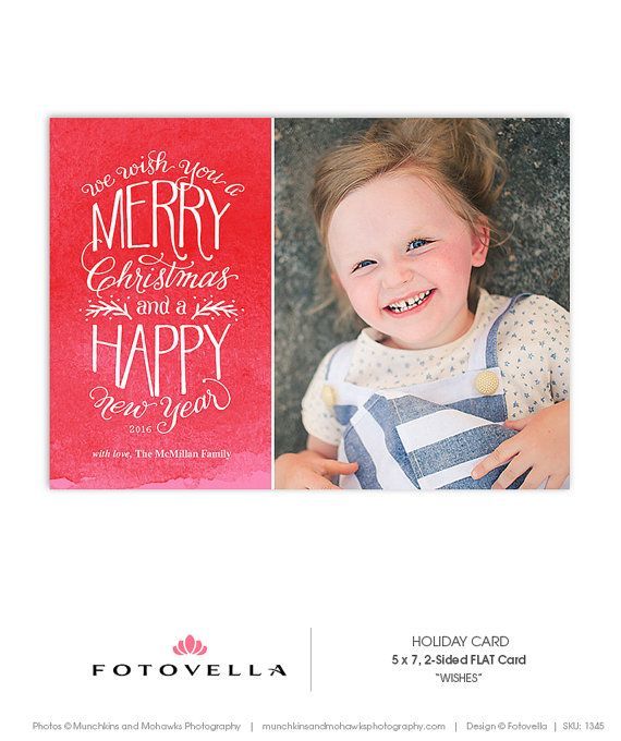 Christmas Card Template Hand Drawn Type X Flat Card Wishes - Christmas card templates for photographers 2