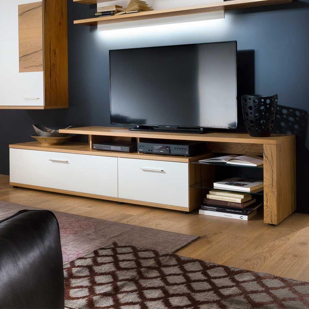 TV Lowboard mit Eiche furniert Weiß 240 cm Jetzt bestellen unter ...