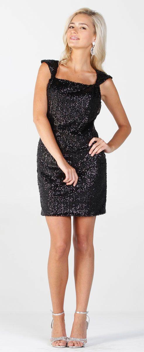 Gorgeous Black Sequins Mini Cocktail Dress (3-colors XS-XL)