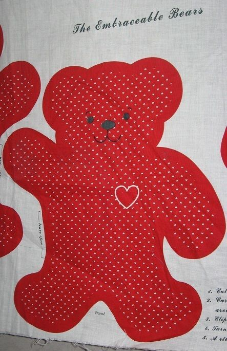 2 12 Inch Embraceable Red Bear Toy Fabric Stuffed Panel Quilt Applique Uc Panel Quilts Bear Toy Fabric Panels