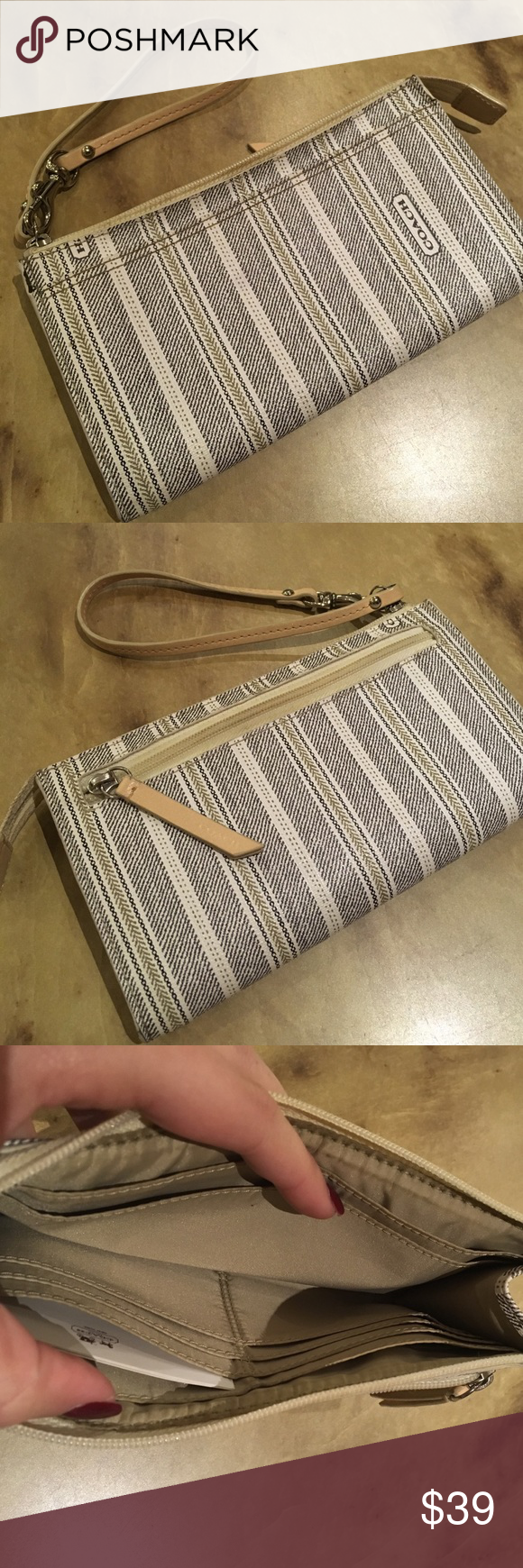 Coach Authentic Wallet Wristlet Coach Authentic wallet wristlets gently used condition still has tons of life. 😊 all reasonable offers accepted ❓feel free to ask any questions 🚭 smoke free home 🌀 bundle and save 💸 🙌🏼 thanks so much for stopping by 💜 happy poshing 💖 Coach Bags Clutches & Wristlets