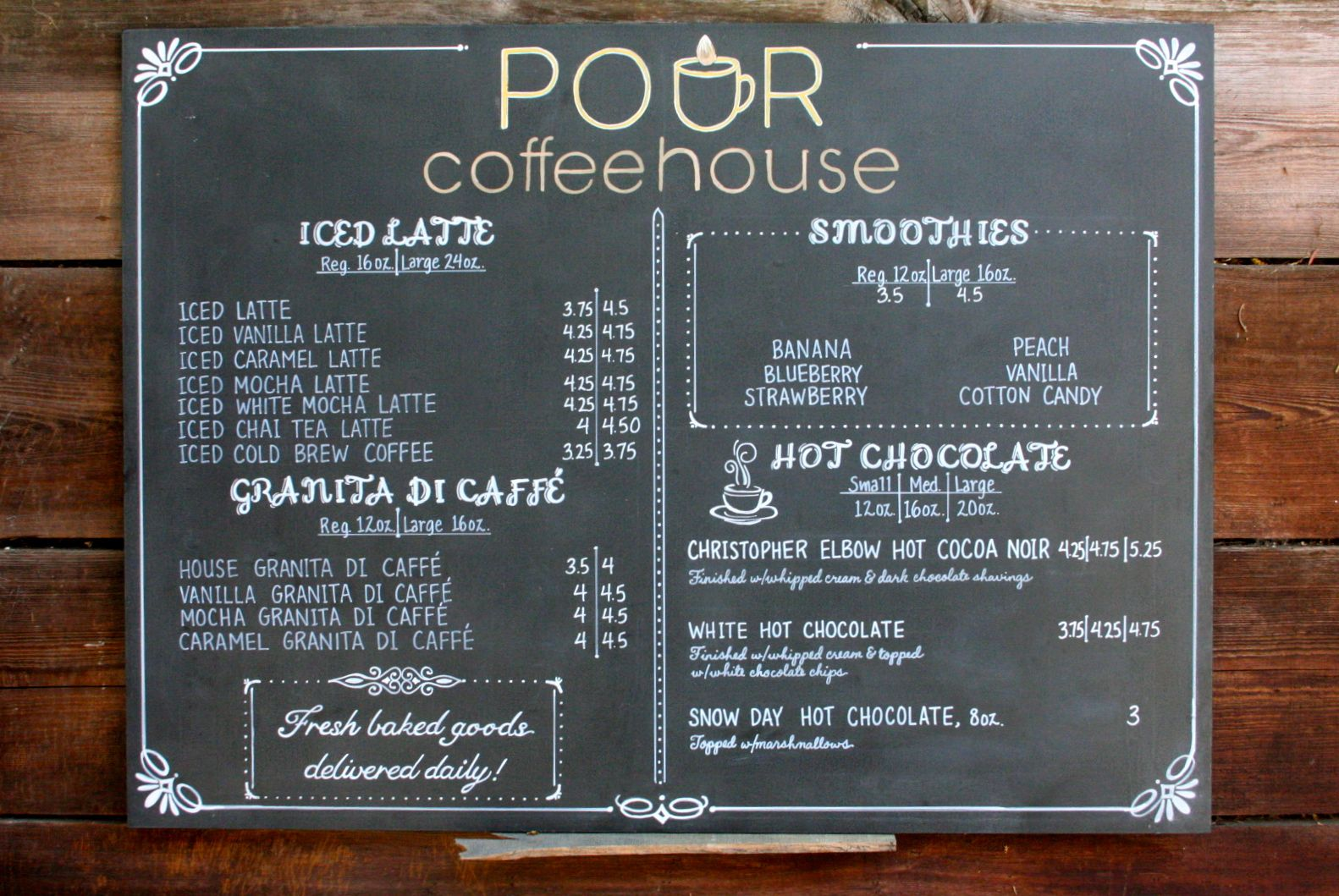 Coffee shop menu for POUR coffeehouse in Kansas. One of a