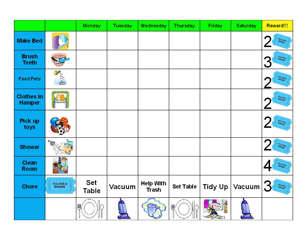 Free Printable Chore Behavior Charts For Kids  Kids Behavior Chart Template
