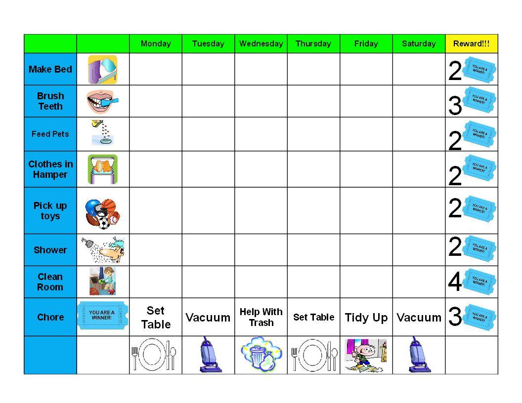 gael's crafty treasures: good behavior/chore chart (free