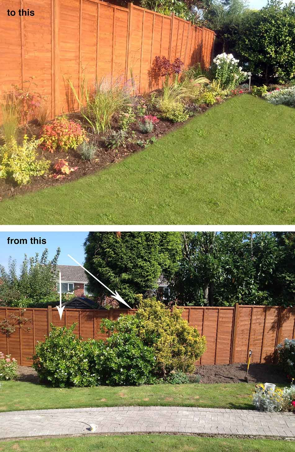 garden border design. I was asked by my client to remove the mature shrubs from this border and  install a low maintenance planting scheme which full of seasonal colour