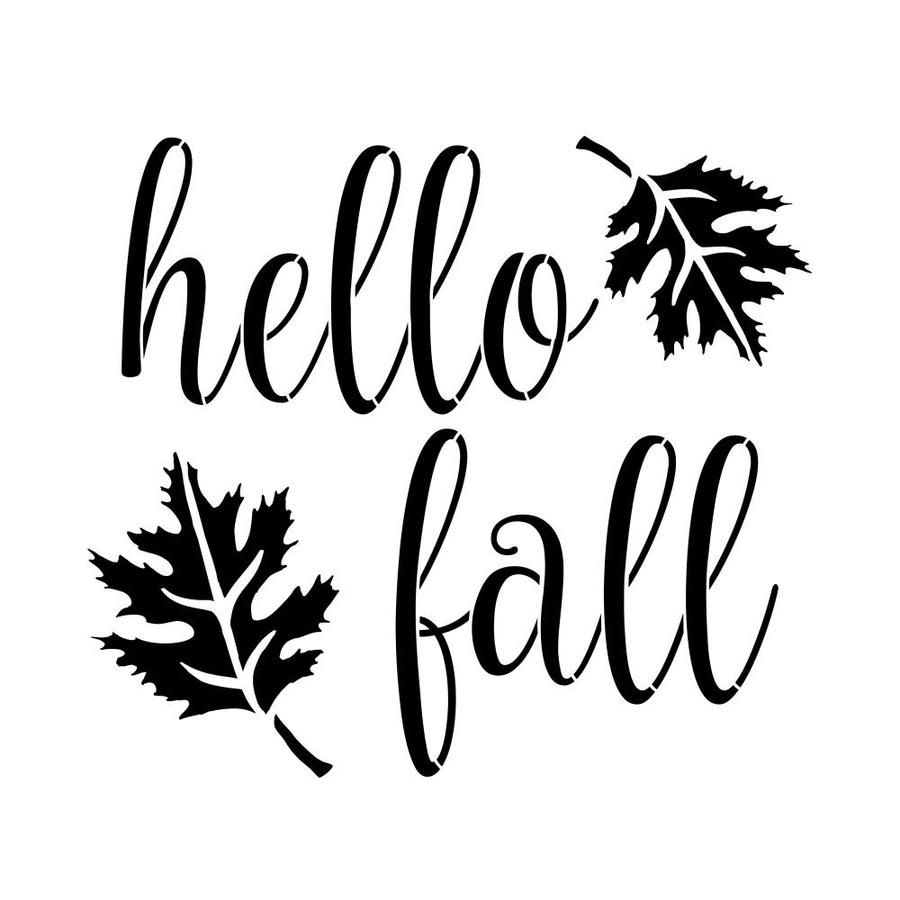 Precision cut frosted 10 mil plastic. Reusable stencil for painting the design. This is not a vinyl sticker or decal. Design size is 8.4 inches high x 9.5 inches wide. Designer Stencils Hello Fall Stencil in Clear | FS098