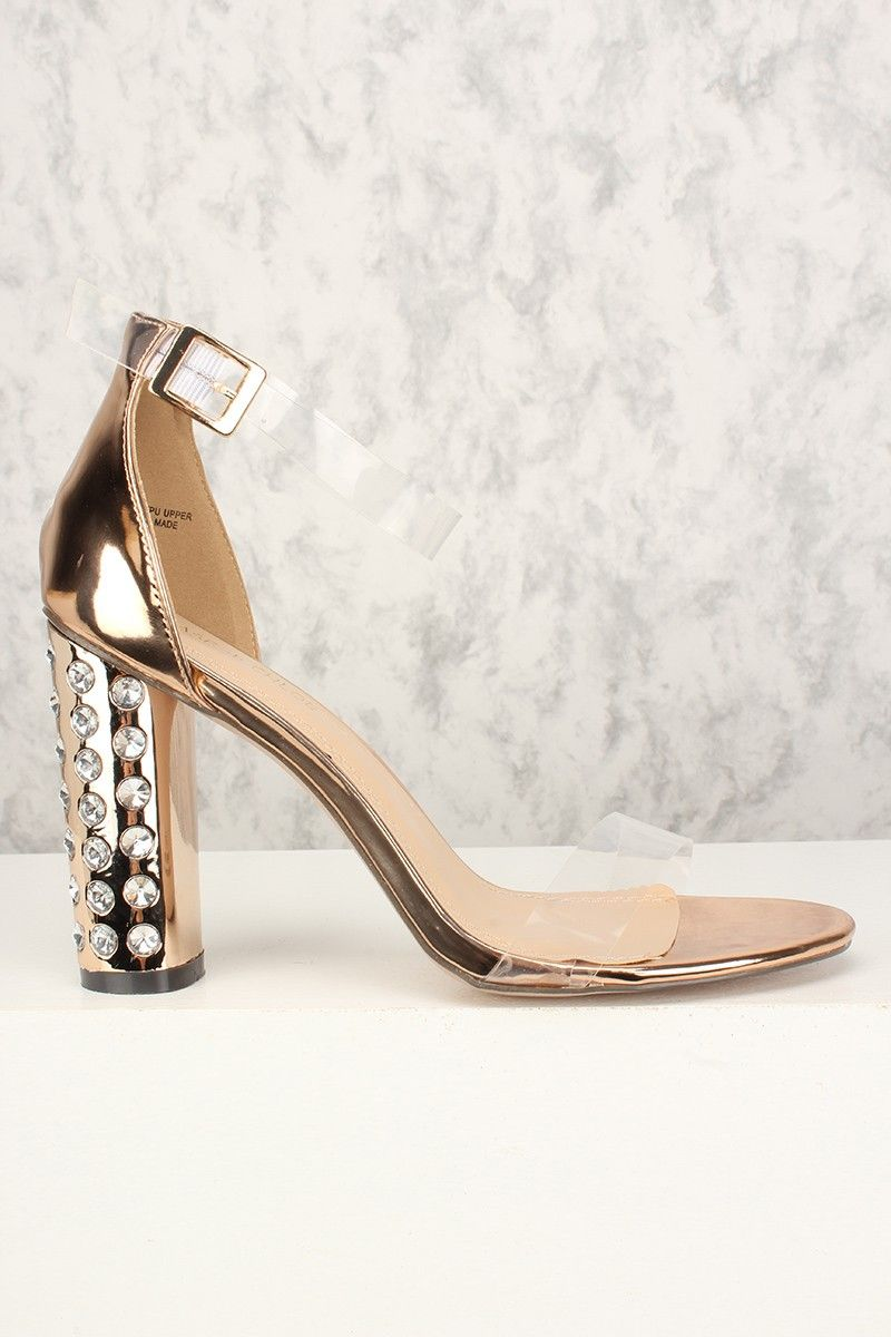 16c95c2d1 Sexy Rose Gold Rhinestone Chunky Heel Ankle Straps Single Sole ...