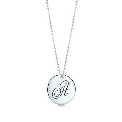 Tiffany notesletter f round pendant round pendant tiffany and tiffany notes letter round pendant in sterling silver letters a z available tiffany aloadofball Gallery