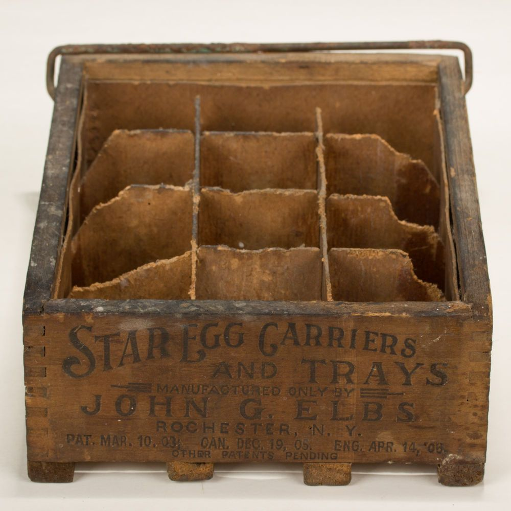 Antique Wooden Star Egg Carrier Dovetail Finger Jointed Crate John G. Elbs 1906 Rochester, NY Dozen FREE SHIPPING!