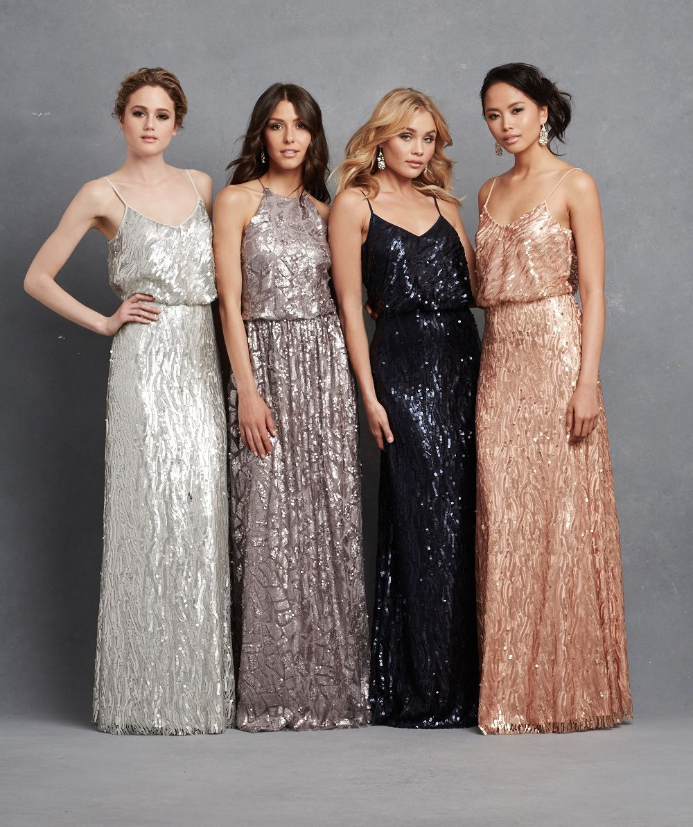 Sequin bridesmaid dresses from @donnamargannyc #wedding #metallic ...