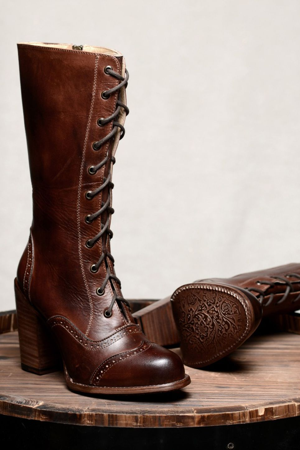 Beautiful Hand Painted Brown Leather Tall Boots With Intricate Detail And High Quality Design These Victorian Granny Boots Leather Boots Women Victorian Boots