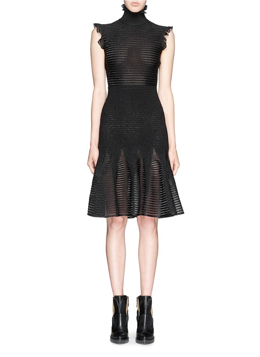 ALEXANDER MCQUEEN - Lurex stripe Victoriana neck knit dress | Black ...