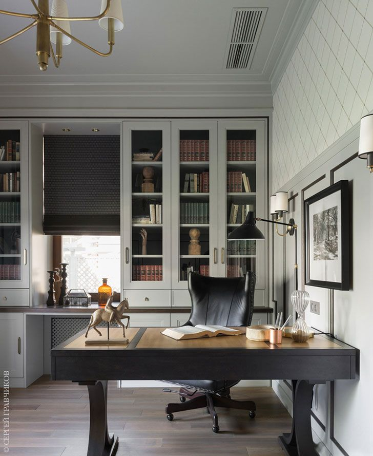 Classic Home Office Design Ideas: Moscow House With American Modern Classic Interiors