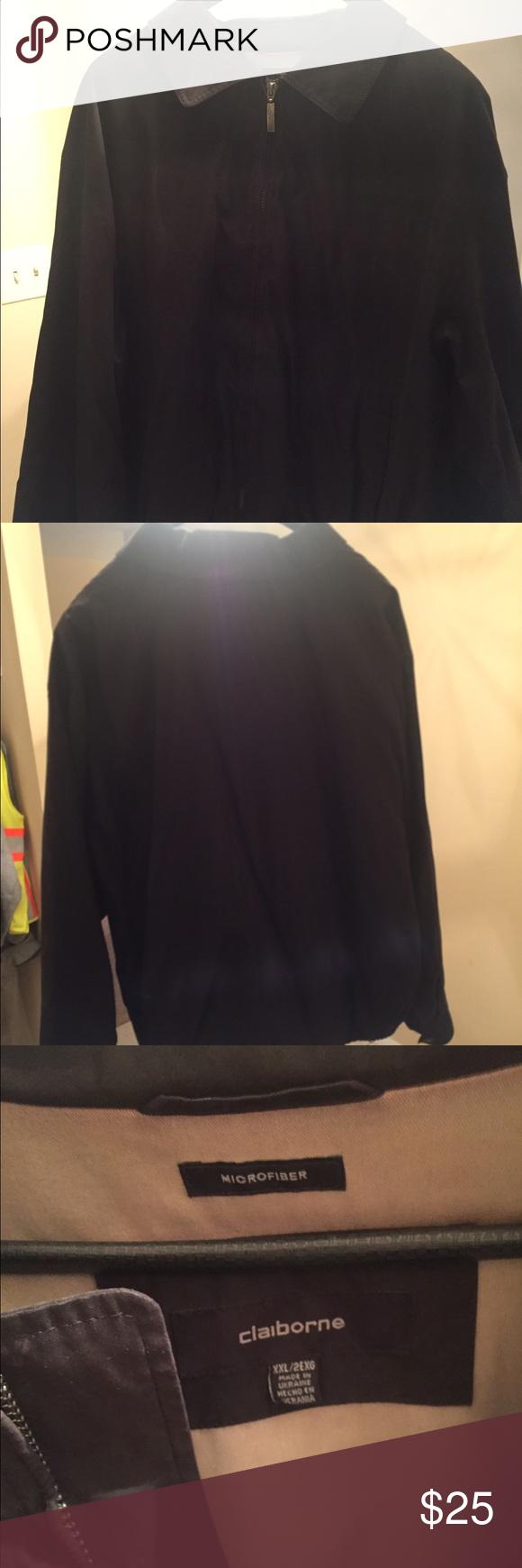 Black Claiborne Microfiber Jacket Black Claiborne Microfiber Jacket in excellent condition!  Size XXL Claiborne Jackets & Coats Lightweight & Shirt Jackets