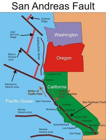 The well known San Andreas Fault line runs right through