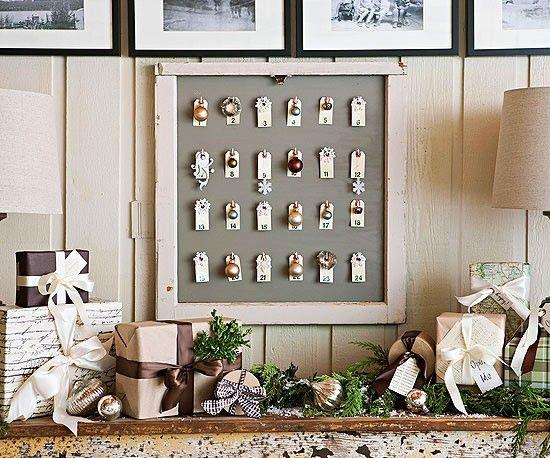 Vintage adventskalender basteln holzrahmen versand etiketten weihnachten einfach nur sch n - Vintage weihnachtsdeko ...