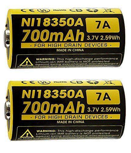 New 2x Nitecore Imr 18350 Ni18350a 700mah 7a 37v Rechargeable Battery Click Image To Review More Details Rechargeable Batteries Camping Lights Go Camping