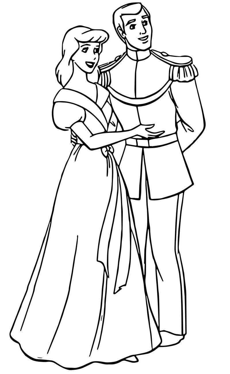 Cinderella And Prince Charming Coloring Pages 34 Dengan Gambar