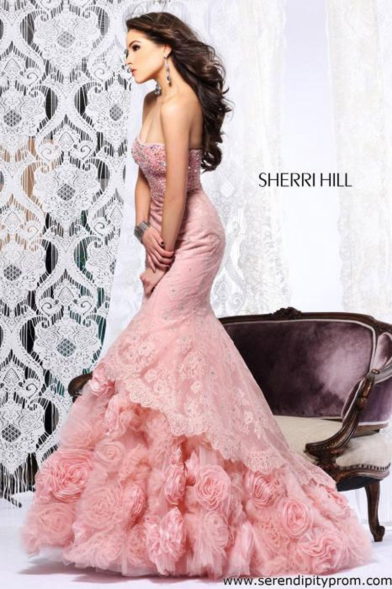 MZ0936 Vintage Sex Mermaid Pink Lace and Organza Strapless Beaded Prom Dresses Custom Made 2014 $209.99