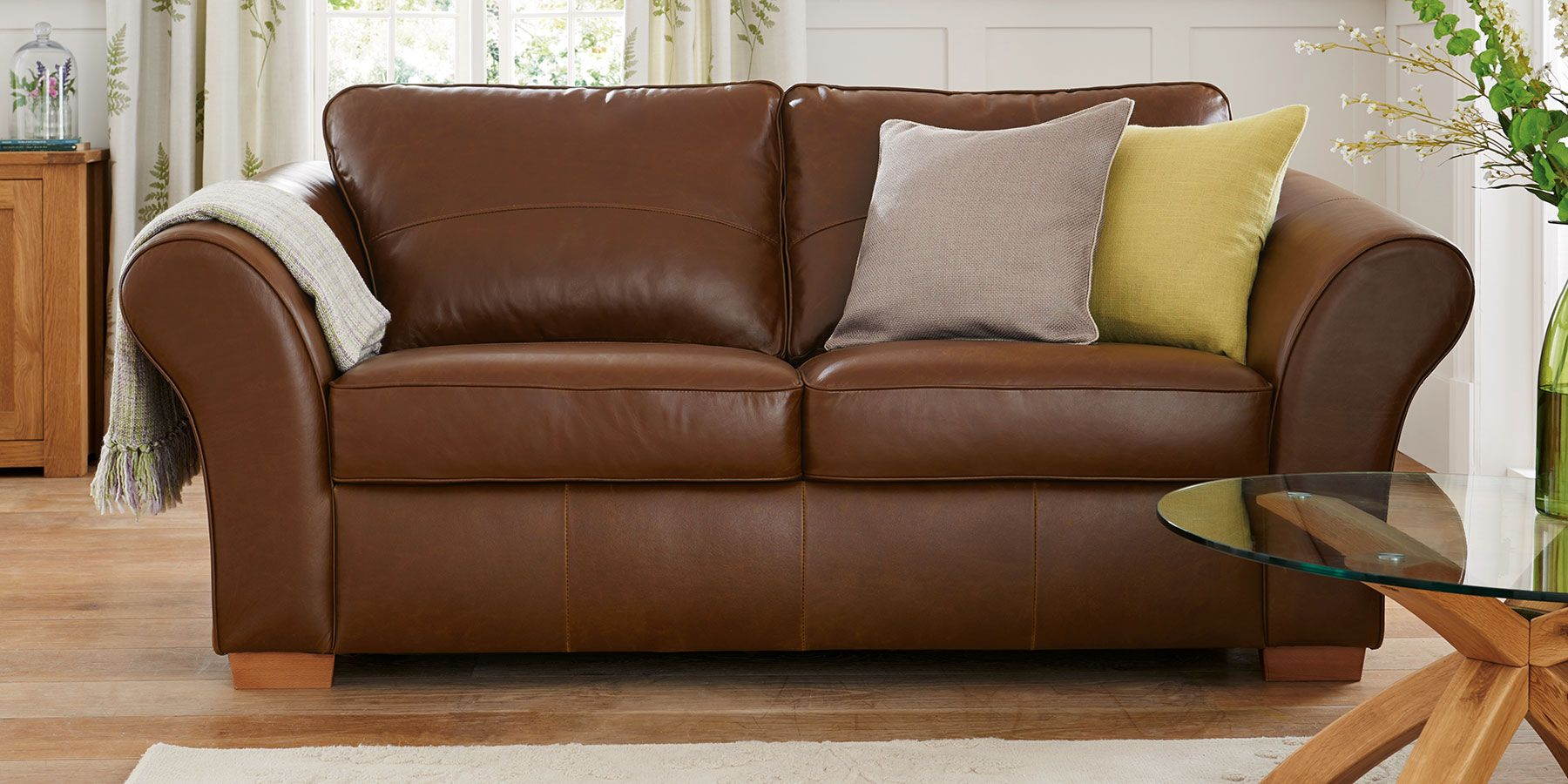 Stamford Leather Large Sofa 3 Seats Bolivia Dark Tan Next