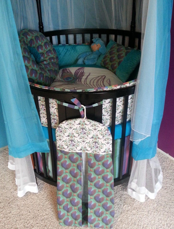 Ellery round crib for sale - Custom Round Crib Bedding Made To Order 399 00 Via Etsy