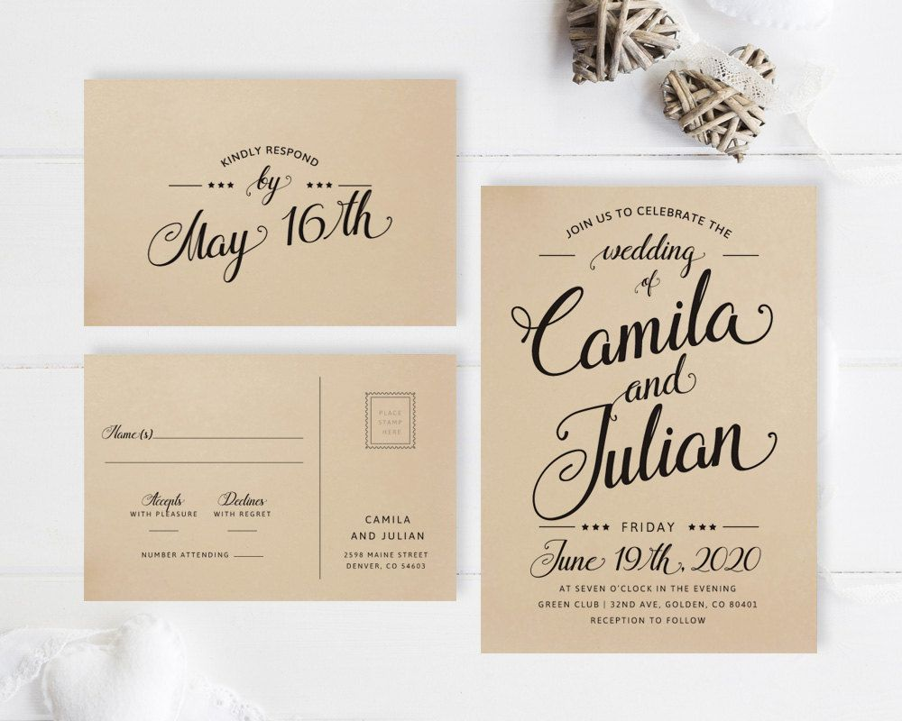 Simple Wedding Invitations Printed On Kraft Paper Modern Typography Invitation Rsvp Postcard Brown Invites