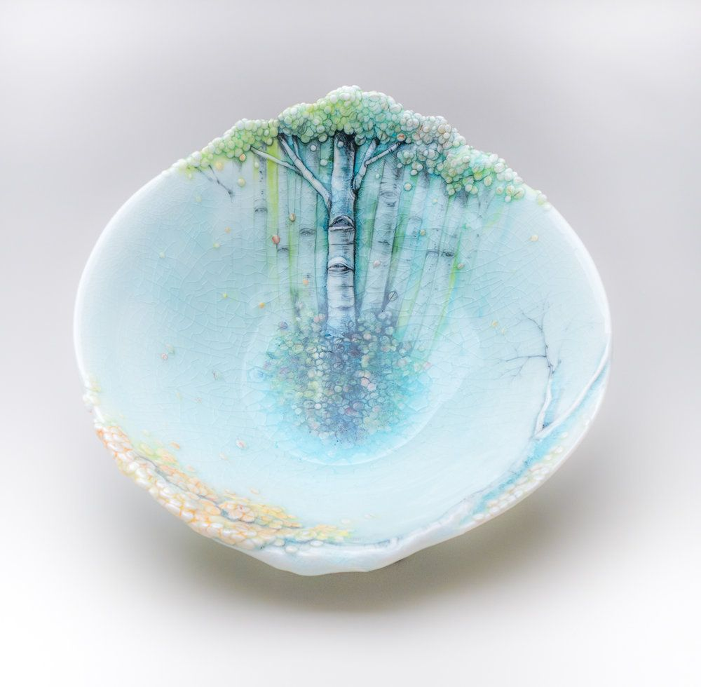 Aspen Trees Grow on Delicate Ceramic Vessels by Heesoo Lee